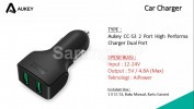 Aukey CC-S3 Car Charger Mobil 2 Port